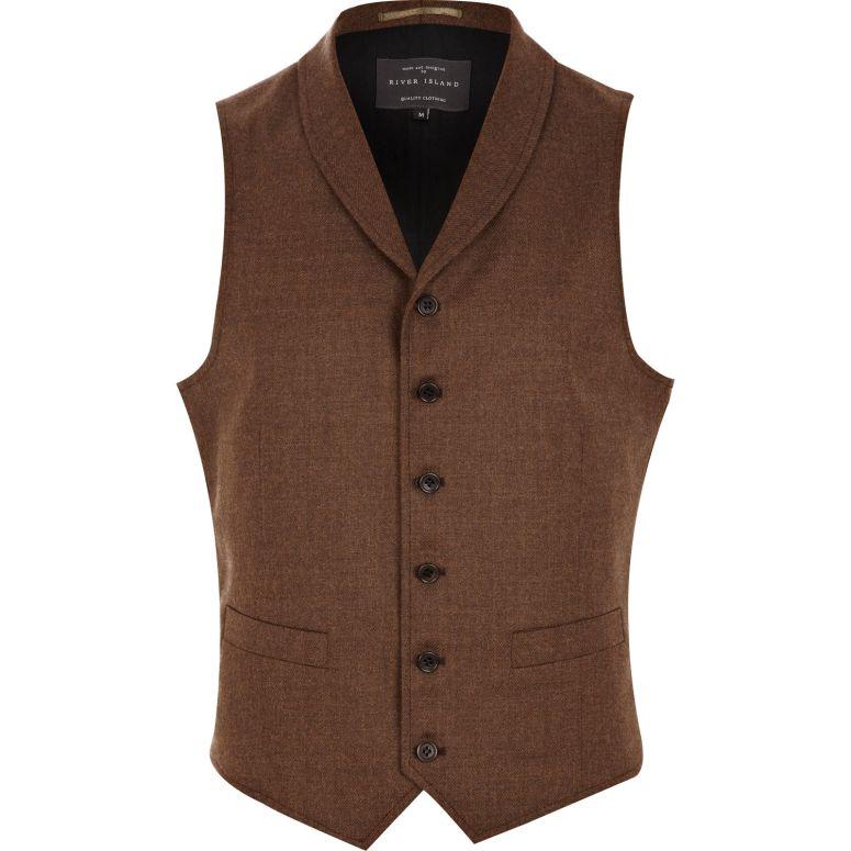 River Island Shawl Brown Waistcoat